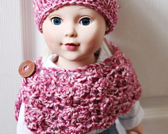 American girl doll clothes/ 18 in doll shawl, poncho, scarf and hat - ready to ship