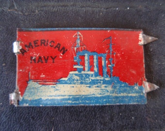 1890's Antique American Navy Tobacco Tin Tag 1896 Warship Collectible L1425