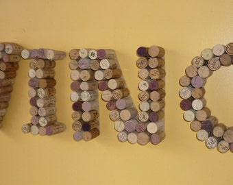 "Wine Cork letters VINO - made from up-cycled Corks -  size 20x80cm (8""x31"")"