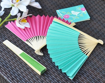 Bright Colored Paper Fans Wedding Bridal Shower Set of 12