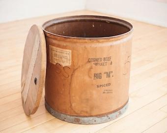 Vintage Corned Beef Barrel Container Planter
