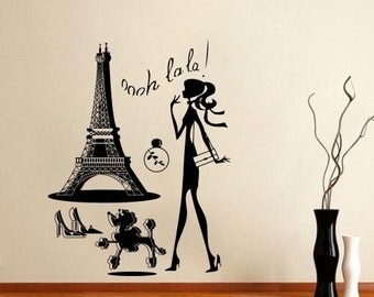 Wall Stickers Vinyl Decal Eiffel Tower Girl Shopping Poodle ParisTravel 6.5 FT