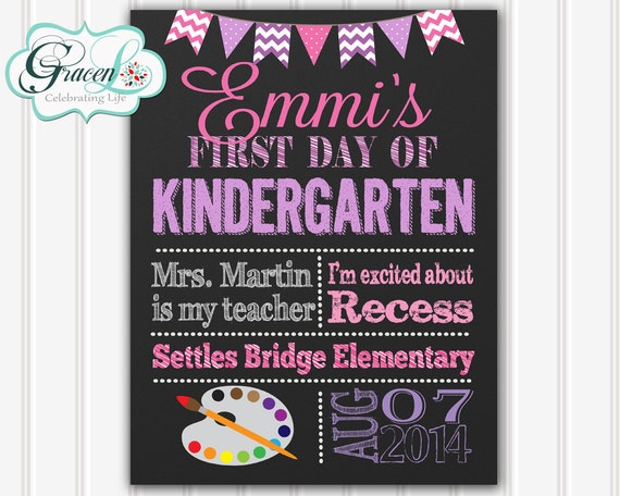First Day Of School Sign, First Day Of Kindergarten Sign, First Day Of ...