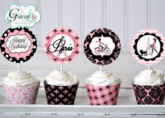 Paris Cupcake Toppers, Paris Birthday Decorations, Paris Birthday, Paris  Party
