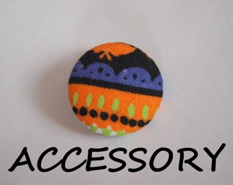 Halloween orange, green, black, and purple fabric covered buttons (adjustable ring, earrings, shoe clips, and brooch)