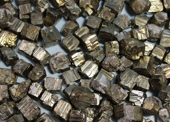 Natural Pyrite Cube Loose Stone Fools Gold Rough Metallic