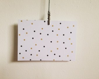 Polka Dot Black and Gold notecards - Pack of 16.