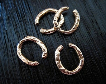 Rustic, Red Bronze, Textured, Artisan, Open Jump Rings (set of 4) (N)
