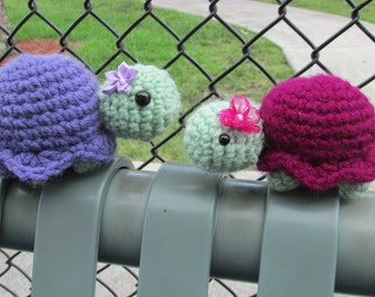 Tara and Myrtle Turtle, Crochet Amigurumi Toys - Made to Order