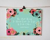 Mint Aqua Green Printable Wall Art - Audrey Hepburn quote