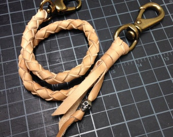 Leather Braided Wallet Lanyard