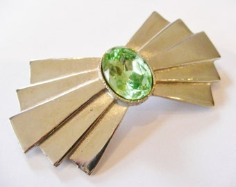 1970's Vintage Art Deco Style Peridot Bow Brooch, Silver Plated