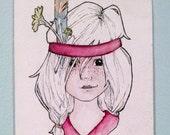 "Little Warrior One - Original Drawing - 4x6"""