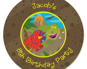 24 Custom Dinosaur Circle Stickers - Personalized Birthday Party Supplies