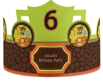8 Custom Birthday Party Hat - Safari Jungle Party Supplies - 8 Count