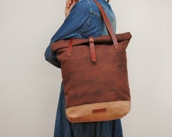 roll top Tote bag waxed canvas, chocolate/sand color ,with leather handles and closures,hand wax