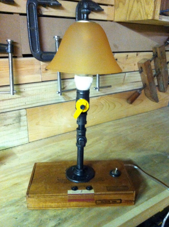 Items similar to a black pipe and cigar box table lamp for Gas pipe desk lamp
