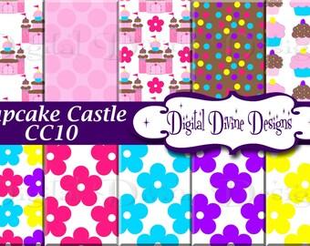 Cupcake Castle Digital Scrapbooking  Paper Set - Instant Download