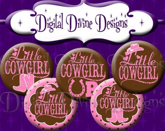 Little Cowgirl - 1 inch round digital graphics - Instant Download