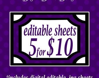 Digital Editable .JPG Sheets Bulk Deal - Choose 5 editable .jpg sheets for 10 dollars