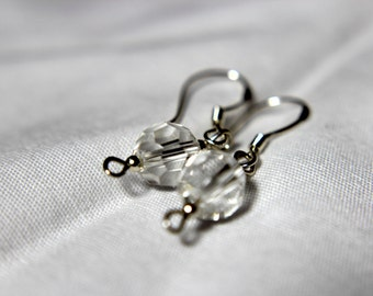 SALE- Handcrafted Sterling Silver Earrings with Faceted Quartz Crystal Beads