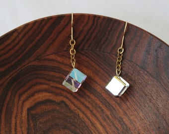 Art Deco Irridescent Glass Cube Earrings