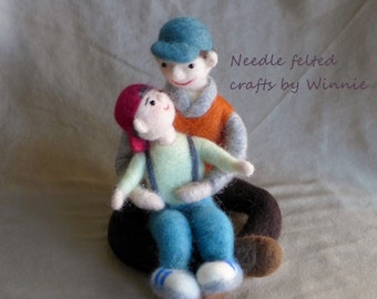 Needle felted dolls- Father and son handmade OOAK wool art