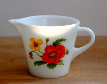 Vintage Pyrex JAJ Milk Jug Red and Yellow Floral Design