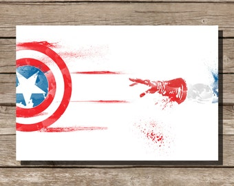 movie poster art print Captain America comic book art fan art wall art home decor kids wall art