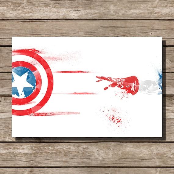 Movie Poster Art Print Captain America Comic Book Art Fan Art