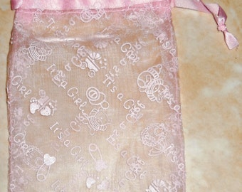 12 Organza Favor Bags - It's a Girl - 6 x 4 - Baby Shower
