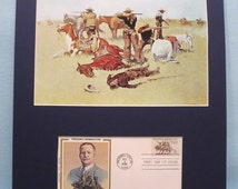 The Intruders  painted by Frederic Remington and First Day Cover of his own stamp