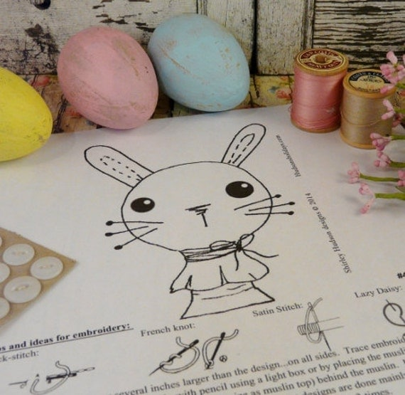 Bunny rabbit spool doll Stitchery PDF Pattern - embroidery shabby chic 1 sheet easy simple cheap spring easter pincushion pinkeep