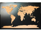 World map push pin corkboard with countries outlined. Cork sales map with frame. Cork travel map. World cork map. Cork educational map.