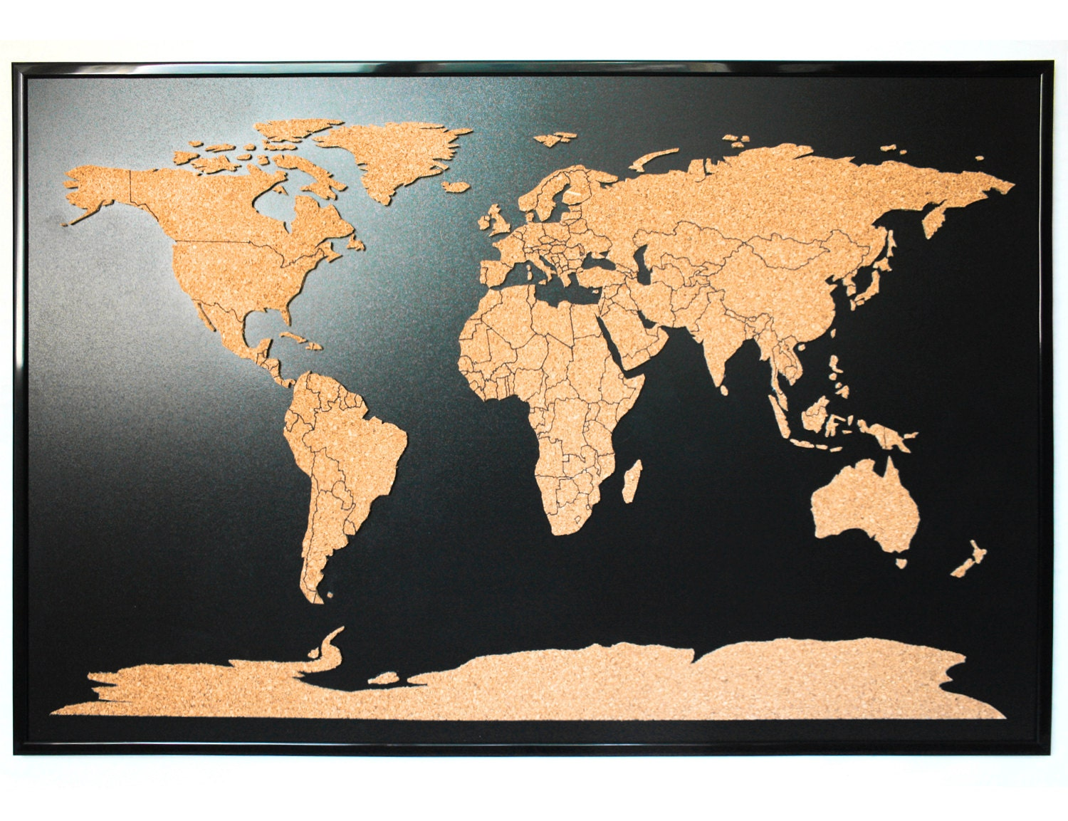 World map push pin corkboard with countries outlined Cork