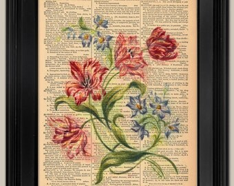 "Floral painting -17. Upcycled vintage book page art print. Print on book page.  Fits 8""x10"" frame."