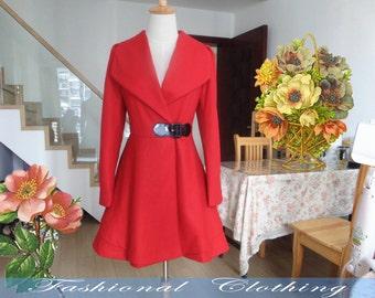red blue black coat wool coat winter coat spring autumn coat warm coat women clothing long coat long sleeve coat jacket outerwear dress