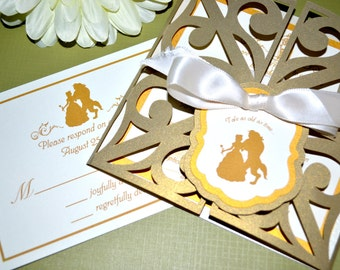 Fairy Tale Wedding Invitations - Beauty and the Beast, Gate Fold