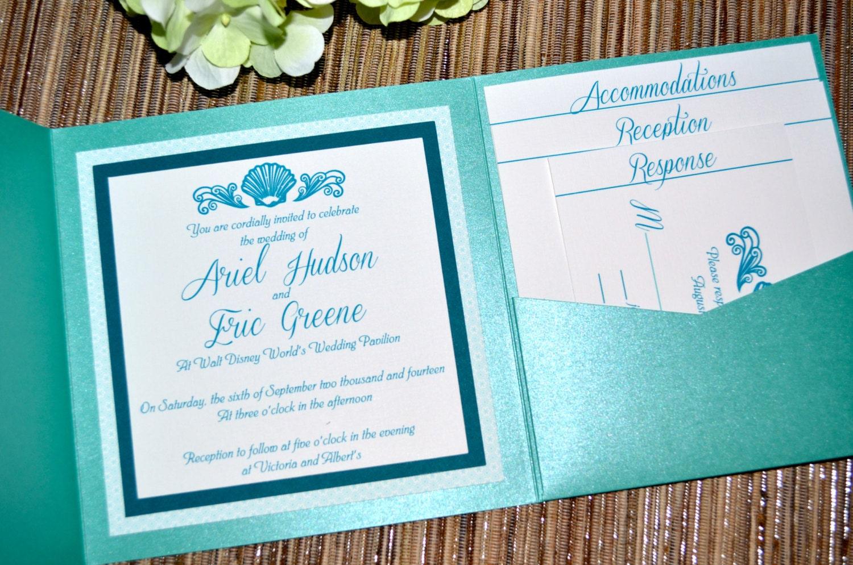 Fairy Tale Wedding Invitations The Little Mermaid Pocket Fold
