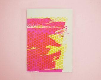 Abstract Letterpress Notebook, Yellow Dot