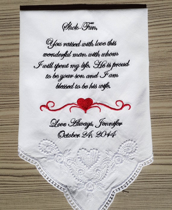 Personalised Wedding Gifts Quick Delivery : Fast Shipping!!! Personalized Wedding Handkerchief for the Mother in ...