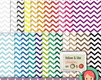 Rainbow Chevron digital papers, scrapbooking, party supplies, invitations, chevron, rainbow colors [SC-014]