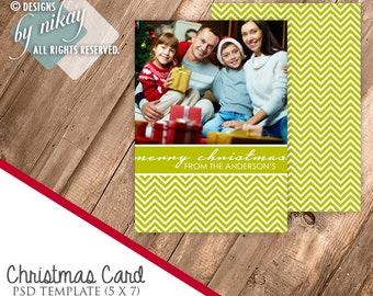 Chevron Christmas Card PSD Template / Digital File / INSTANT Download