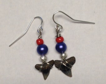 Blue and Red Dangle Earrings with Sharks Teeth - Pearl Earrings - Homemade Earrings - Homemade Jewelry - Shark Tooth Earrings