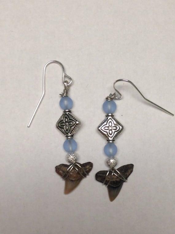 dangle earrings featuring sharks teeth sharks tooth jewelry