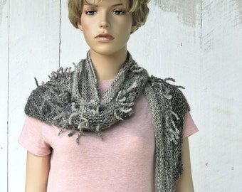 Art Yarn Shawl in Natural Colored Mohair