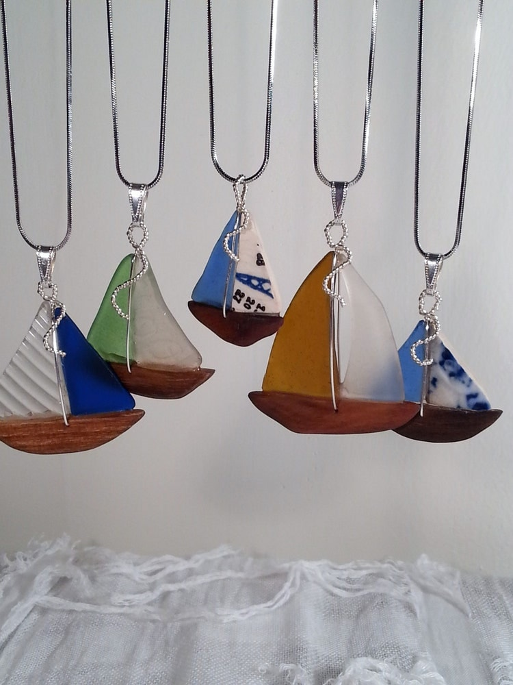 Sea Glass Sailboat Pendant With Textured By Seaglasssailboats
