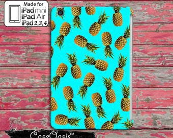 Blue Pineapple Pattern Pop Art Summer Cute New Custom iPad Mini, iPad 2/3/4 and iPad Air Case Cover