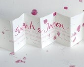 Custom Names, personalised wedding anniversary or engagement card, handwritten original calligraphy, pink petal paper, love quotation