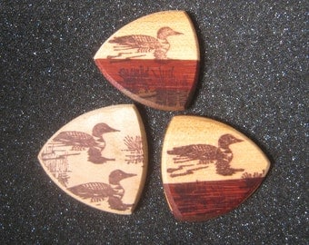 Wooden Guitar Pick Loon Bird Duck on Lake Guitar or Bass Pick